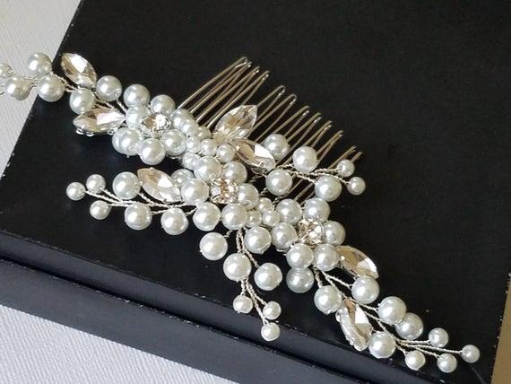 Wedding - Pearl Bridal Hair Comb, White Pearl Headpiece, Wedding Pearl Crystal Hair Piece, Bridal Hairpiece, Wedding Hair Jewelry, Pearl Floral Comb