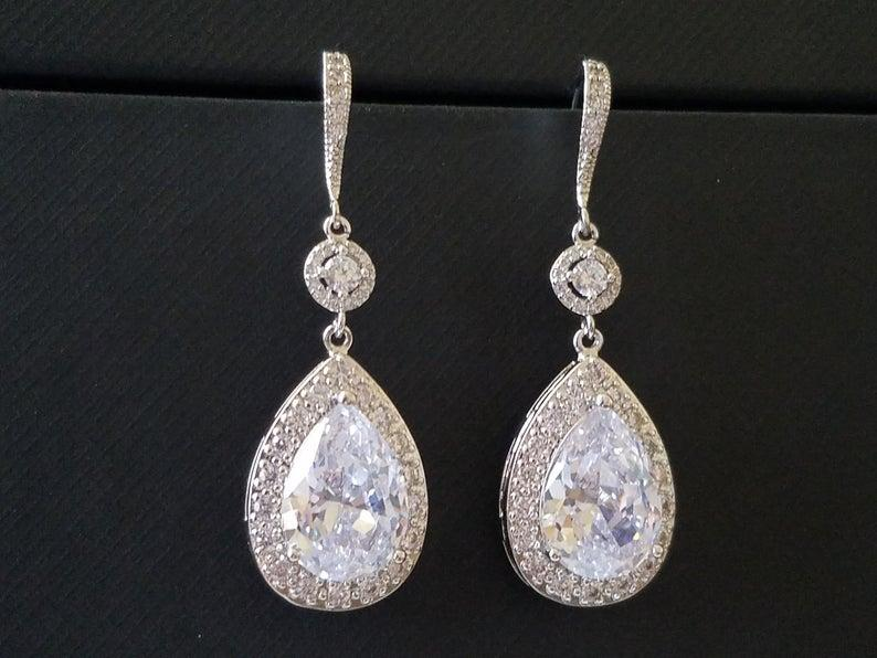 Wedding - Bridal Cubic Zirconia Earrings, Teardrop Crystal Wedding Earrings, Chandelier Dangle Earrings, Sparkly Crystal Halo Earrings Prom Jewelry