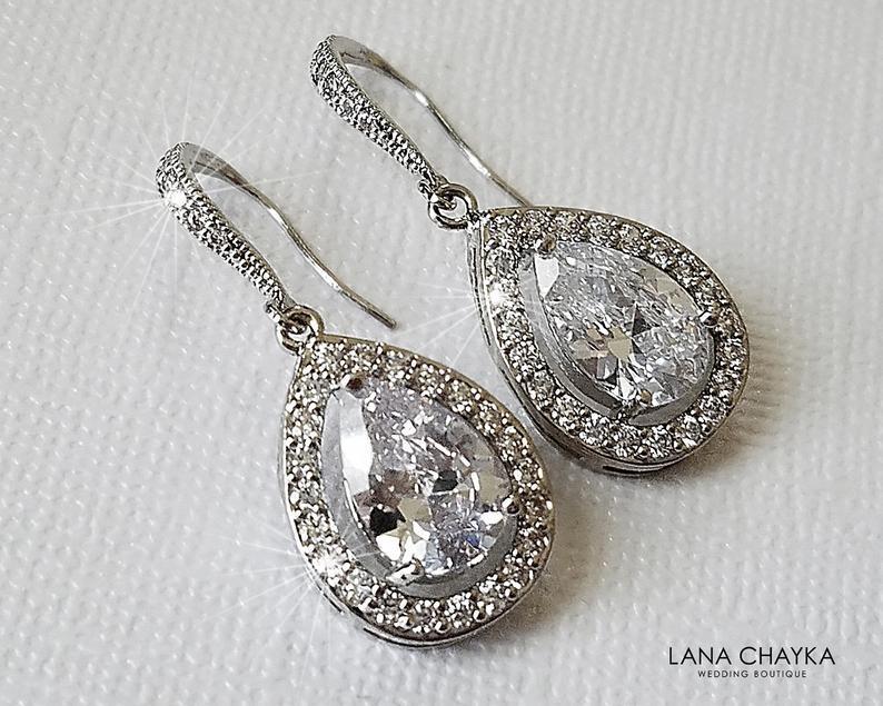 Wedding - Teardrop Crystal Bridal Earrings, Wedding Cubic Zirconia Silver Earrings, Bridal Halo Earrings, Wedding Crystal Jewelry, Bridal CZ Jewelry