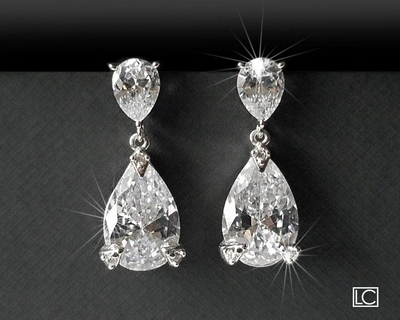 Wedding - Crystal Bridal Earrings, Teardrop Crystal Silver Earrings, Wedding Jewelry, Cubic Zirconia Bridal Earrings, Wedding Jewelry, Crystal Jewelry