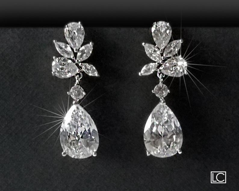 Wedding - Crystal Bridal Earrings, Wedding Teardrop Earrings, Bridal Jewelry, Chandelier Earrings, Crystal Earrings, Dangle Earrings, Prom CZ Jewelry