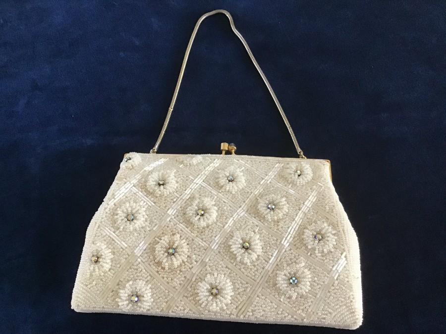 Mariage - 1950sVintage White Bridal Purse.Micro and Tubulare Beaded Flowers with  Rainbow Rhinestone.Wedding Purse.Bridar shower Gift.Gift for Her.