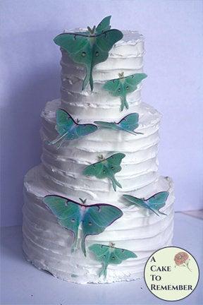 زفاف - 9 edible luna moth cake decorations for a woodland wedding cake or a butterfly wedding cake. Edible butterflies for rustic cake toppers