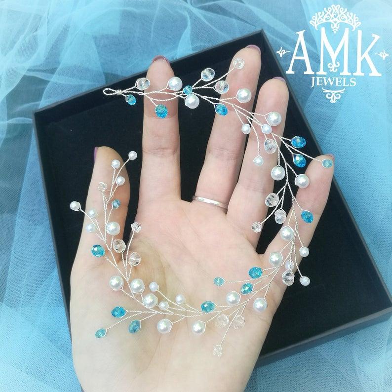 Wedding - Blue hair vine, bridesmaid hair vine
