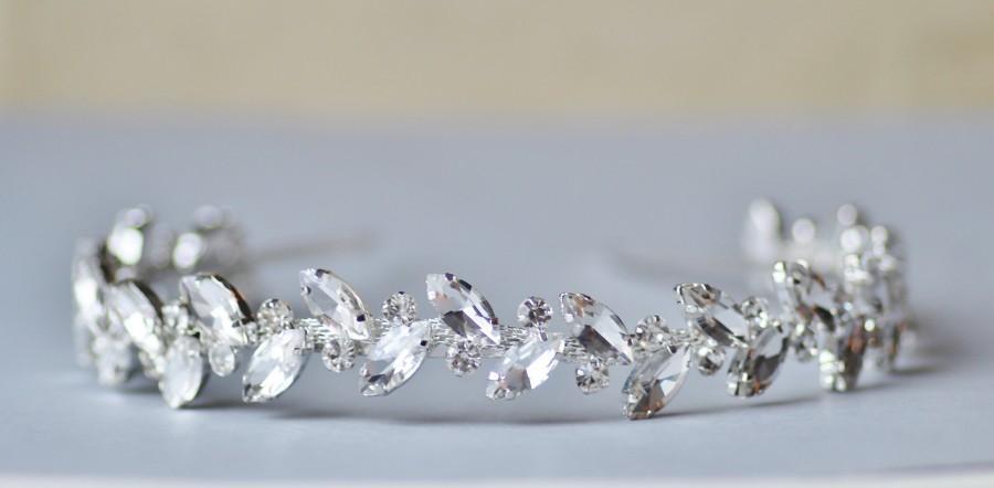 Свадьба - STUNNING Silver Large Marquise Crystal Bridal Headband,Silver Clear Rhinestone Head Band,Under 50,Weddings,Bridal Headpiece,Crystal Hair