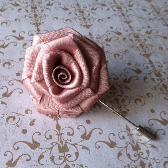 Wedding - Mens Flower Lapel - Rose Lapel Pin - Alternative Wedding Boutonniere - Antique Mauve Dusty Rose Pink Pin - Lapel Flower - Gifts for Men