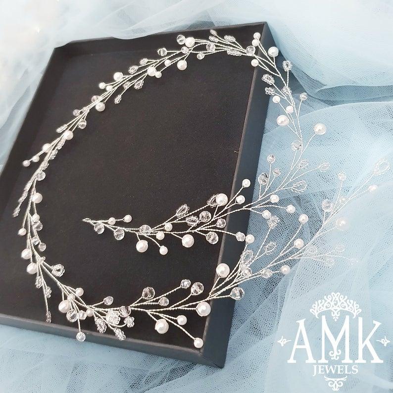Hochzeit - White beads hair vine, bridal wreath