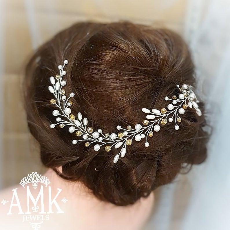 Wedding - Beige Hair Vine, Bridal hair wreath, wedding wreath, vine Bridal, Hair vine for bride, Hair Piece Bridesmaid, beige bridal hair accessory