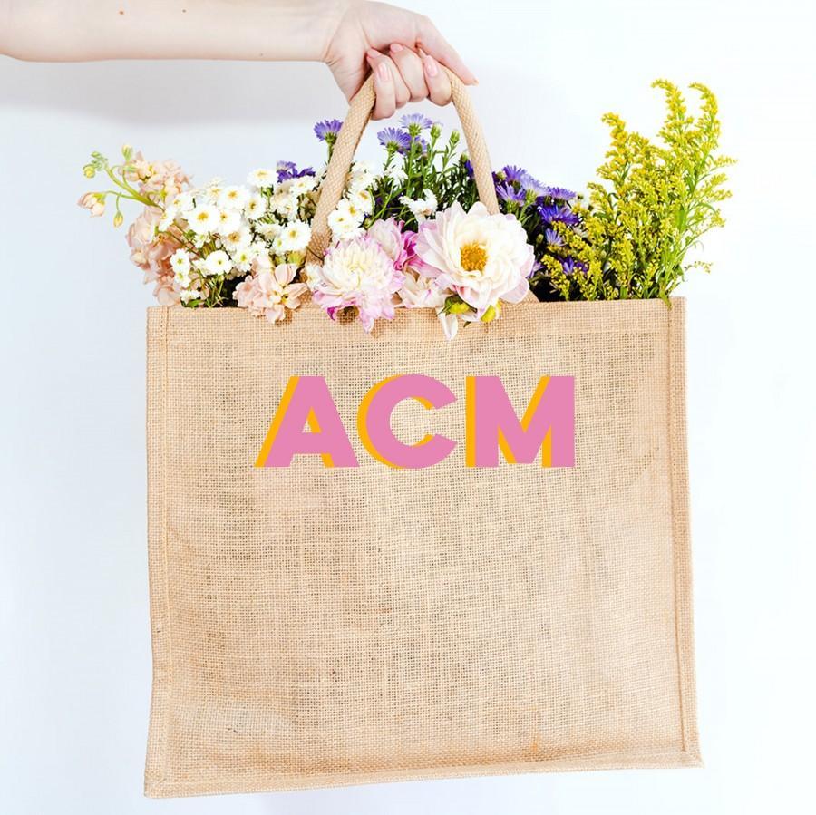 Wedding - Monogram Jute Carryall