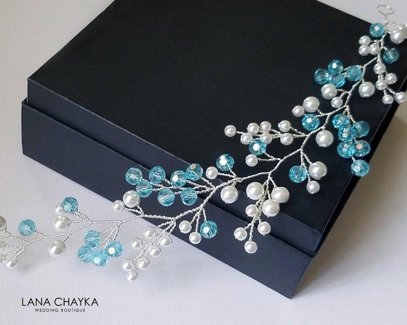 Wedding - Pearl Crystal Bridal Hair Vine, White Pearl Blue Turquoise Headpiece, Wedding Hair Piece, Bridal Hair Jewelry, Pearl Crystal Floral Wreath
