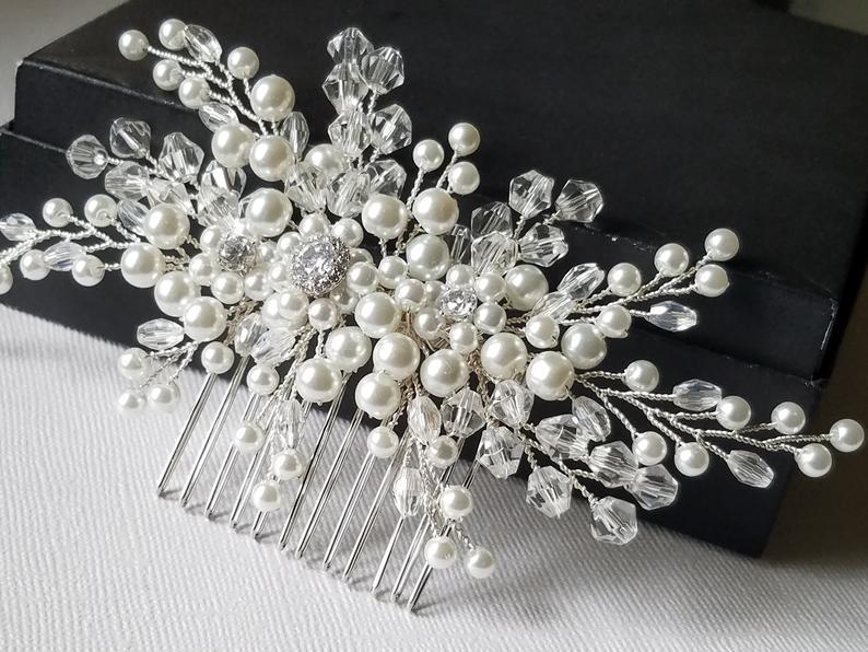 Wedding - Pearl Crystal Bridal Hair Comb, Wedding Hair Piece, White Pearl Crystal Headpiece, Bridal Pearl Hair Jewelry, Crystal Pearl Bridal Hairpiece