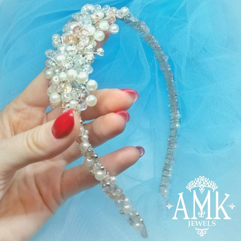 Hochzeit - Crystal rim for bride and bridesmaid, wedding hairband, bridal tiara, Gift for St. Valentines Day, headband with crystals, red style hair