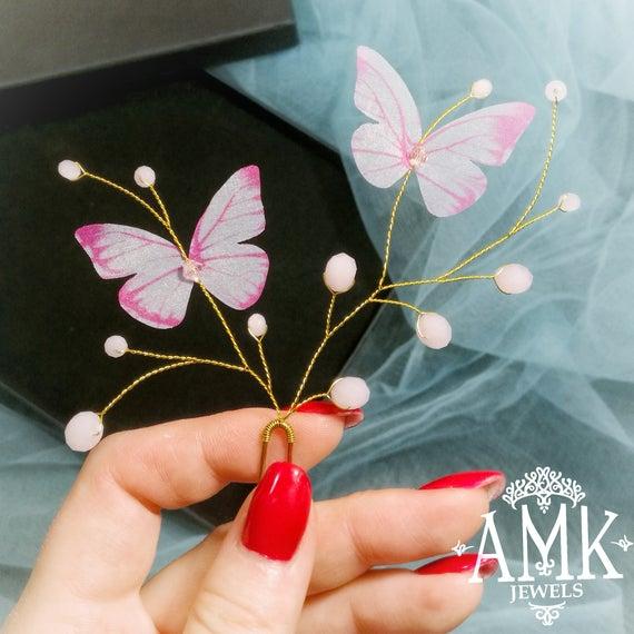 Hochzeit - Butterfly hair accessories, silk butterflies
