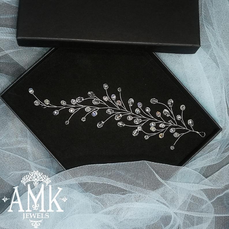 Hochzeit - Wedding Hair Vine, crystal hair wreath, bridal wreath, hair vine for wedding