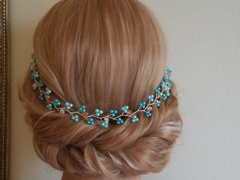 زفاف - Mint Pearl Hair Vine, Teal Dainty Headpiece, Wedding Hairpiece, Turquoise Pearl Crystal Hair Vine, Bridal Hair Piece, Mint Teal Pearl Wreath