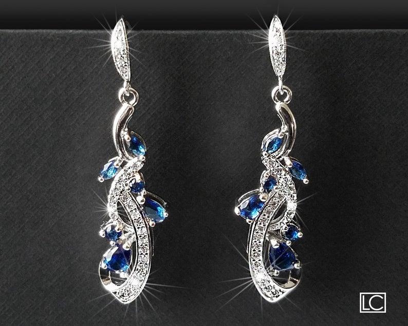 زفاف - Navy Blue Bridal Earrings, Wedding Blue Crystal Earrings, Bridal Blue Silver Earrings, Floral Dangle Crystal Earrings Wedding Bridal Jewelry