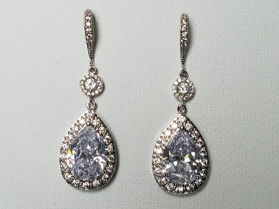 زفاف - Bridal Cubic Zirconia Earrings, Teardrop Crystal Wedding Earrings, Chandelier Dangle Earrings, Sparkly Crystal Halo Earrings Prom Jewelry