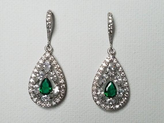 Wedding - Crystal Bridal Earrings, Cubic Zirconia Wedding Earrings, Teardrop Sparkly Earrings, Clear Emerald CZ Chandelier Earrings, Bridal Jewelry