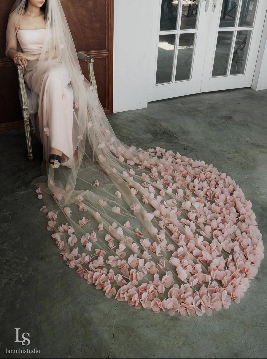 زفاف - LS89/ 3D blush pink flower veil/ 1 tier veil/ cathedral veil/custom veil
