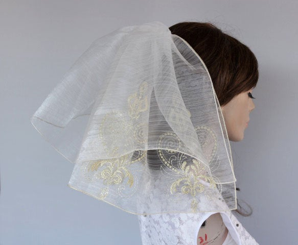 Hochzeit - Flyaway Veil, 2 Tiers Gold Embroidered Tulle Blusher, Bridal Veil, Unconventional Romantic Wedding, Girl First Holy Veil, Communion Veil