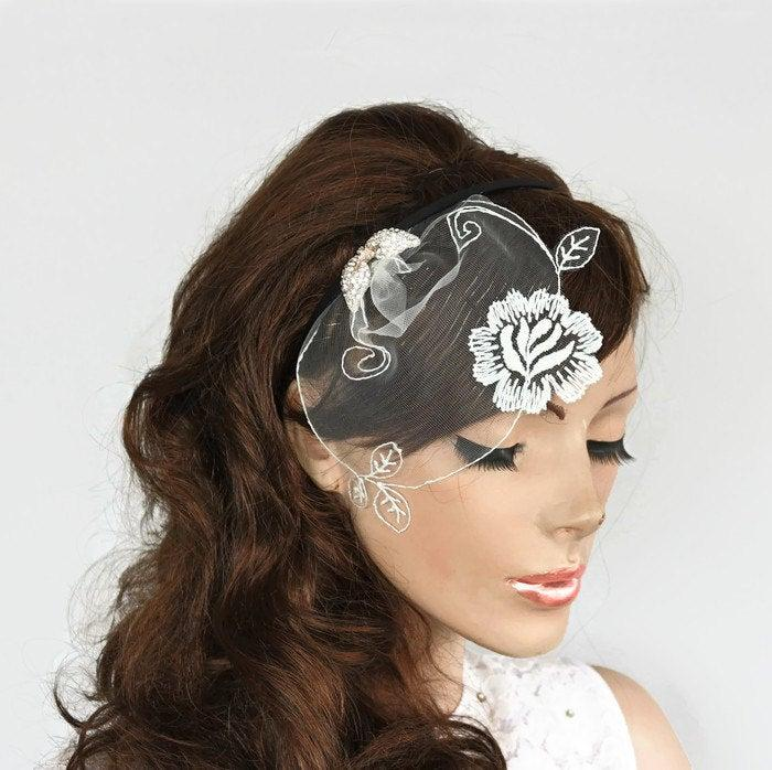 زفاف - Bridal Head Piece Dainty Tulle Blusher Veil Rhinestone Wings, Floral Hair Fascinator Wedding Hair Accessory Crystal  Romantic Summer Wedding