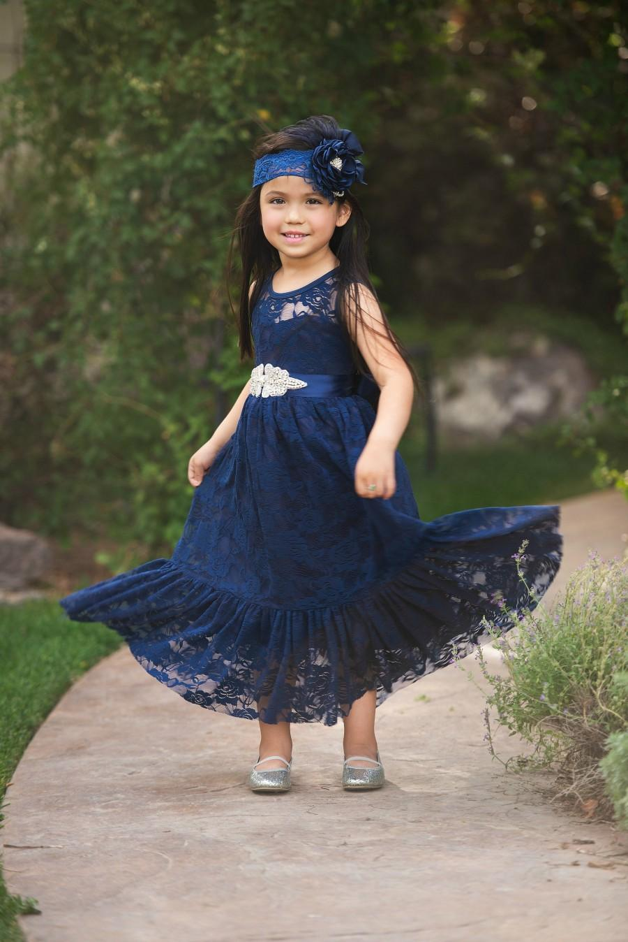 Wedding - SALE Navy Blue Flower girl dress, Flower girl dresses, Easter girls lace dress, Country lace dress, Rustic flower girl dress.