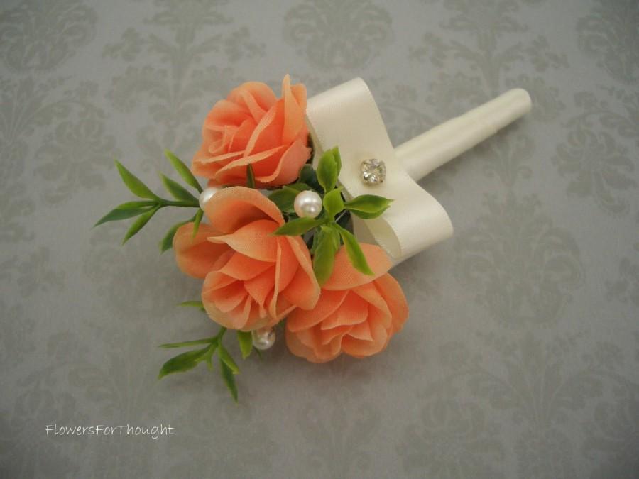 زفاف - Rose Boutonniere, Mens Wedding Lapel Flower Pin, Persimmon and Cream