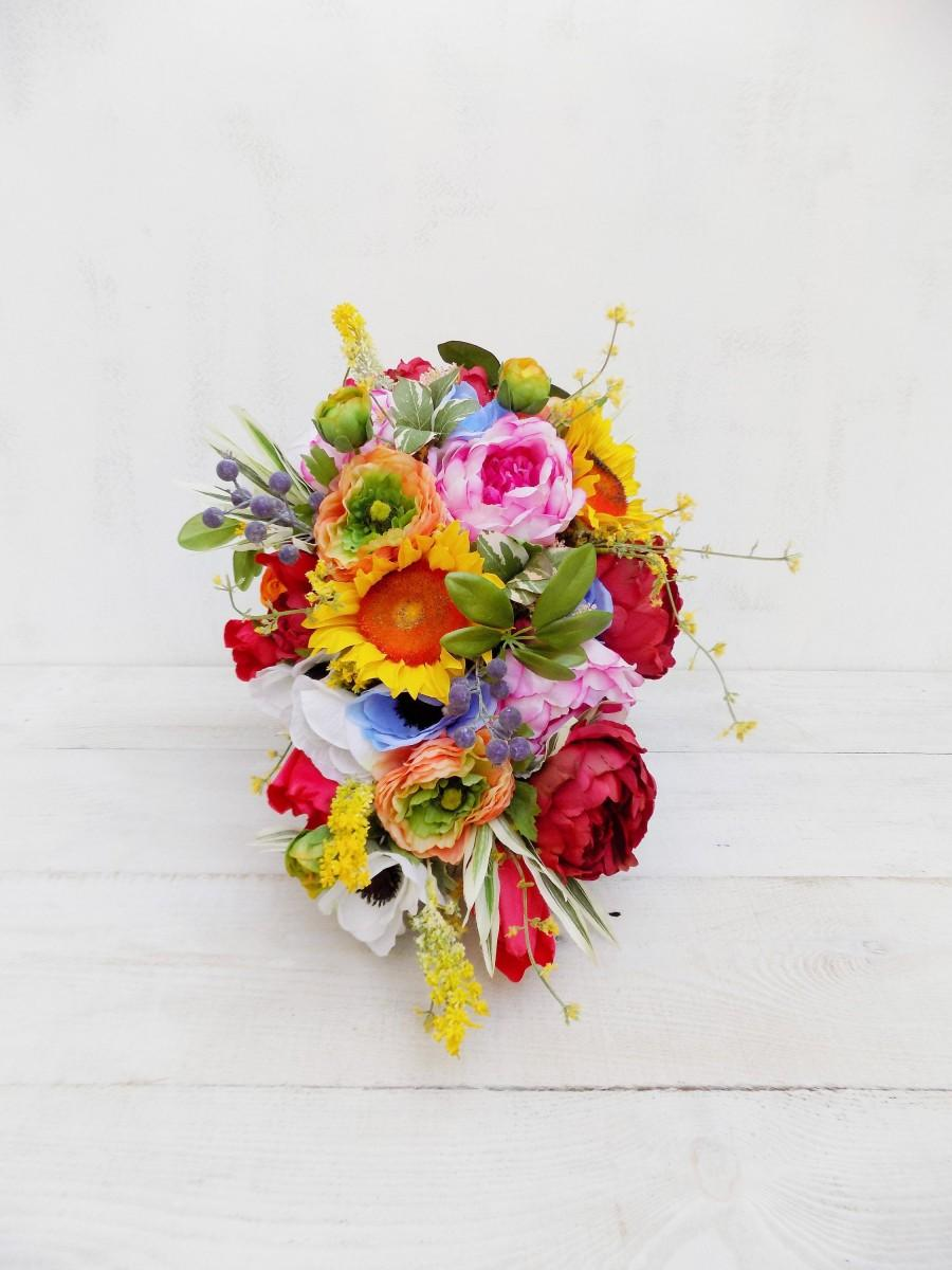 Spring Summer Cascade Bridal Bouquet Artificial Silk Flowers Red Pink Orange Yellow Rustic Wedding Meadow Wildflower Teardrop Cascading 2963182 Weddbook