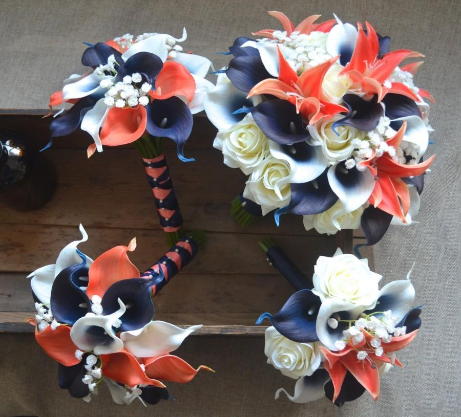 Wedding - Coral Navy Wedding Package--Bridal Bouquets Bridesmaids Bouquets Boutonnieres Real Touch Coral Navy Picasso Calla Lilies White Roses