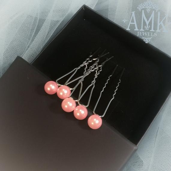 Свадьба - Hair pins with pearls, Bridal pink Hair Pins, Set of 5 Hair Pins, Bridal Hair Accessory, Light pink Hair Piece Bridesmaid, pearl hair pins