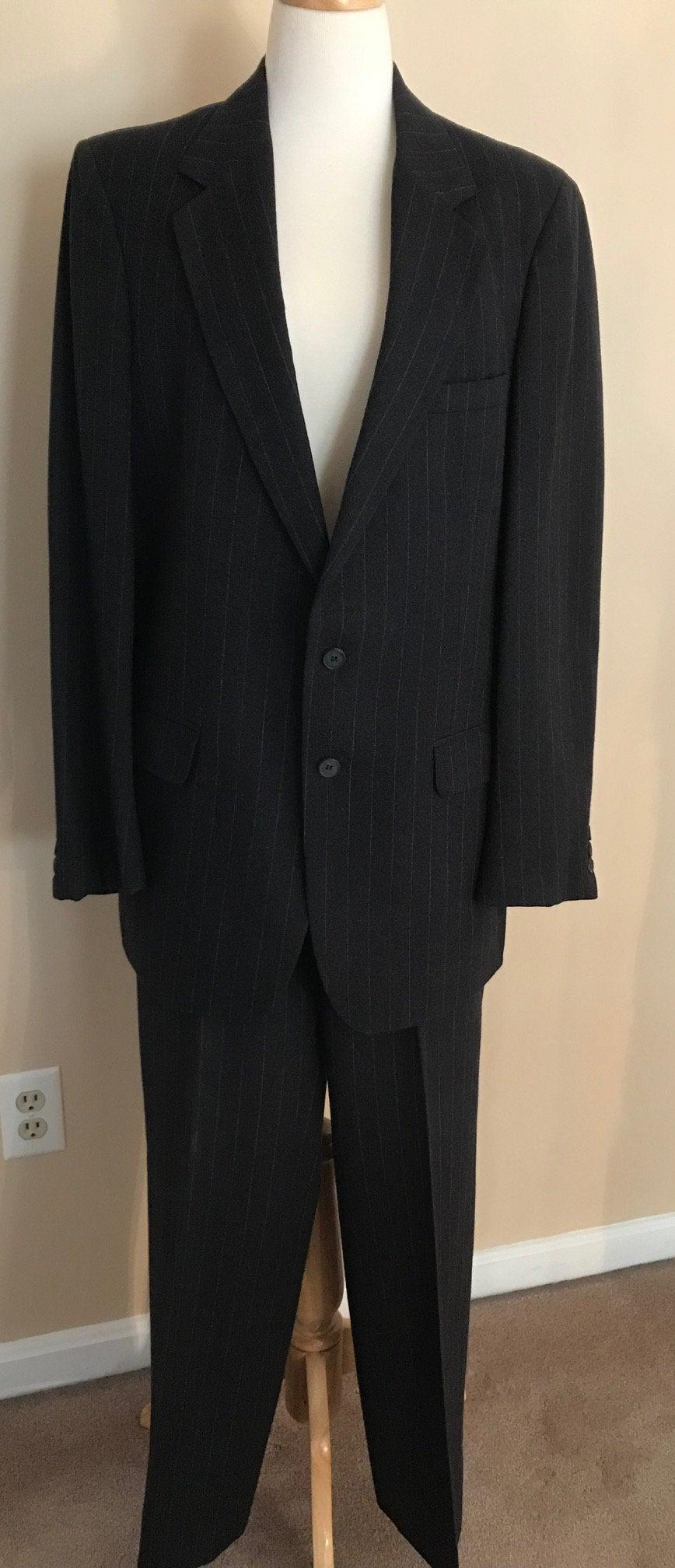 Wedding - Vintage Alan Michaels Black Pin-striped Suit