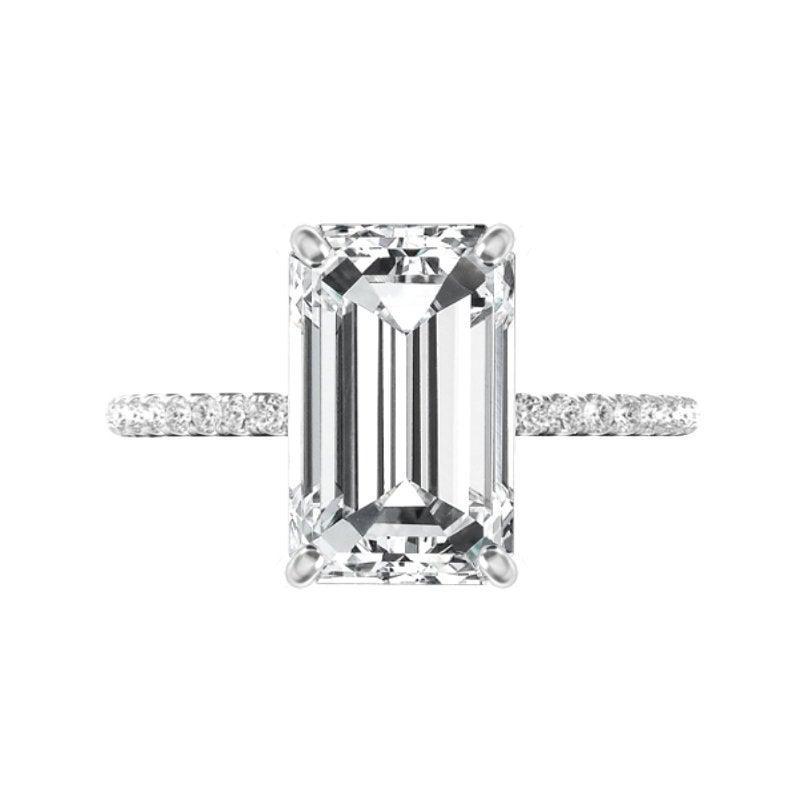زفاف - 5.30 Carat Emerald Cut Moissanite & Diamond Hidden Halo Engagement Ring, Moissanite Engagement Ring, Anniversary Rings 12x8mm