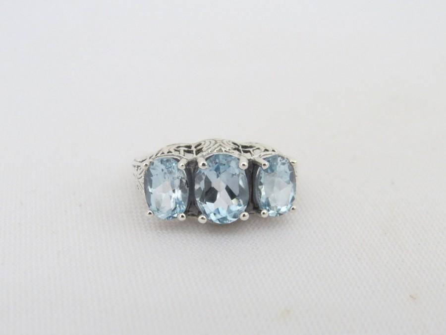 Wedding - Vintage Sterling Silver Oval Aquamarine Three stone Ring Size 7