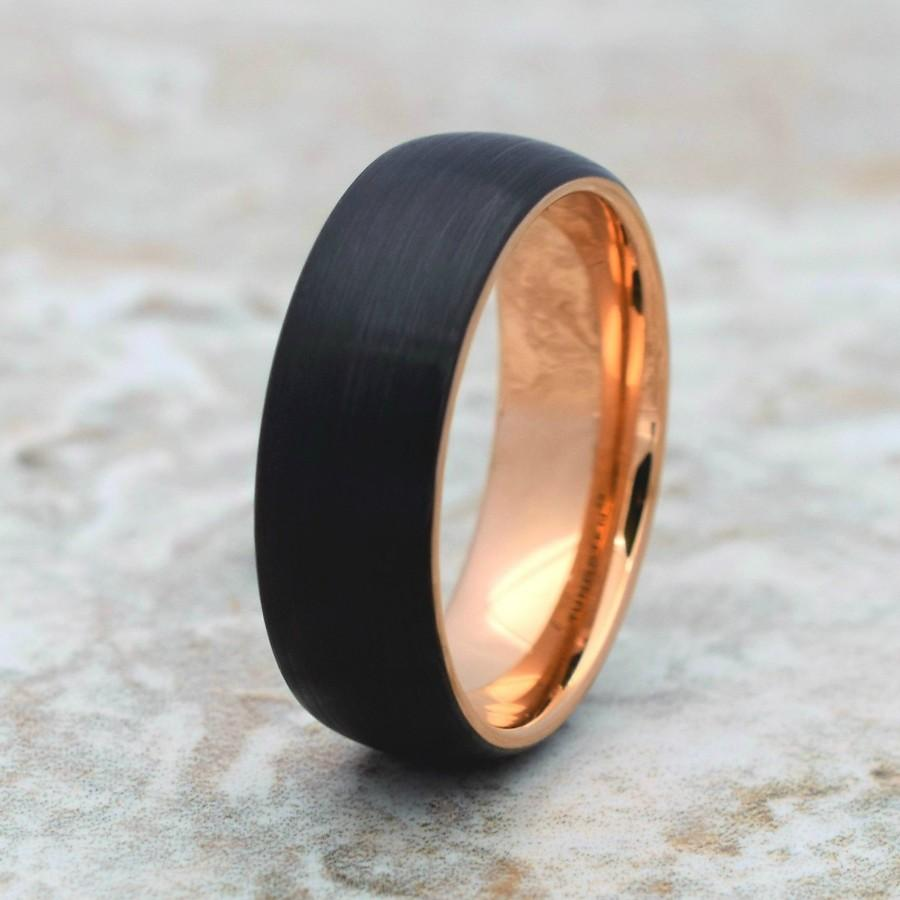 زفاف - Tungsten Ring, Men's Tungsten Wedding Band, Men's Wedding Band, Black Tungsten Ring, Rose Gold Tungsten Ring, Rose Gold Tungsten Band, Ring
