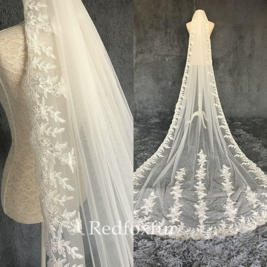 Mariage - High quality Lace veil,Cathedral Long veil,1 tiers Tulle Veil,white, ivory,wedding accessories,comb veil