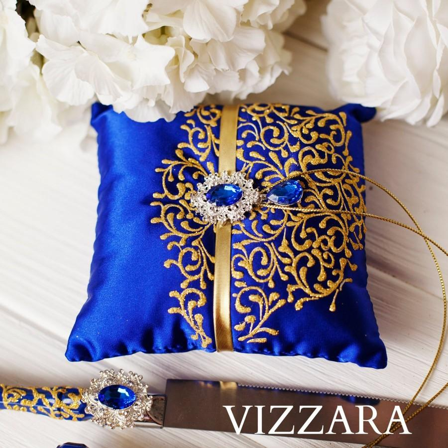 Wedding - Ring Bearer Pillow Royal blue wedding Wedding ring pillow Royal blue and gold wedding Unique ring pillow ideas Royal blue wedding color