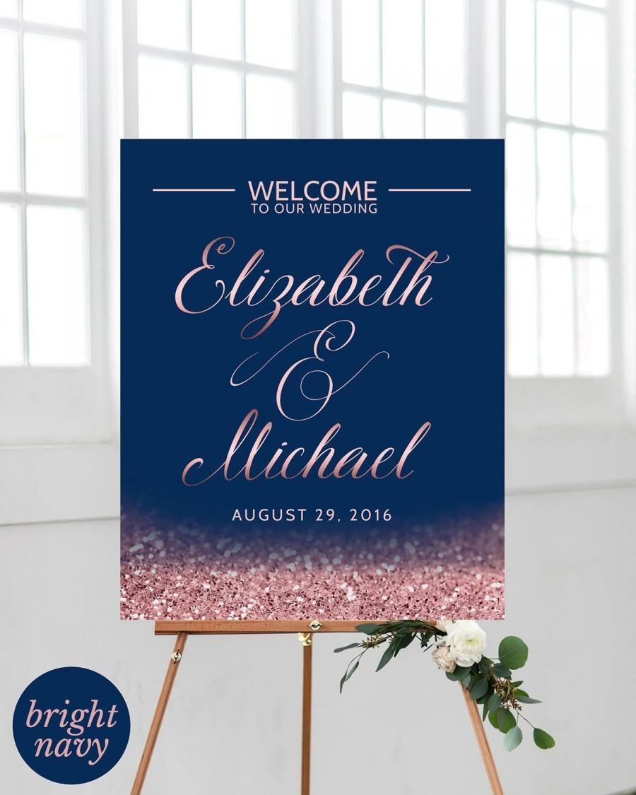 Mariage - Blush Navy Wedding Welcome Sign Wedding Ceremony Sign Navy Blue Rose Gold Wedding Decorations Wedding Reception Sign PRINTABLE Wedding Sign