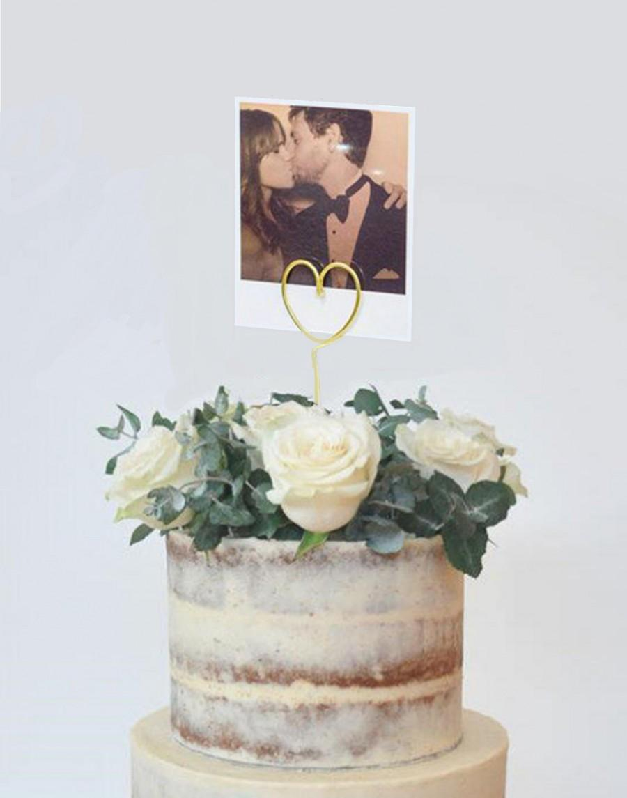 Mariage - Wire heart photo Cake Topper, Poloroid Picture Cake Topper, picture Cake Topper,photo holder cake topper, poloroid holder Cake Topper,unique