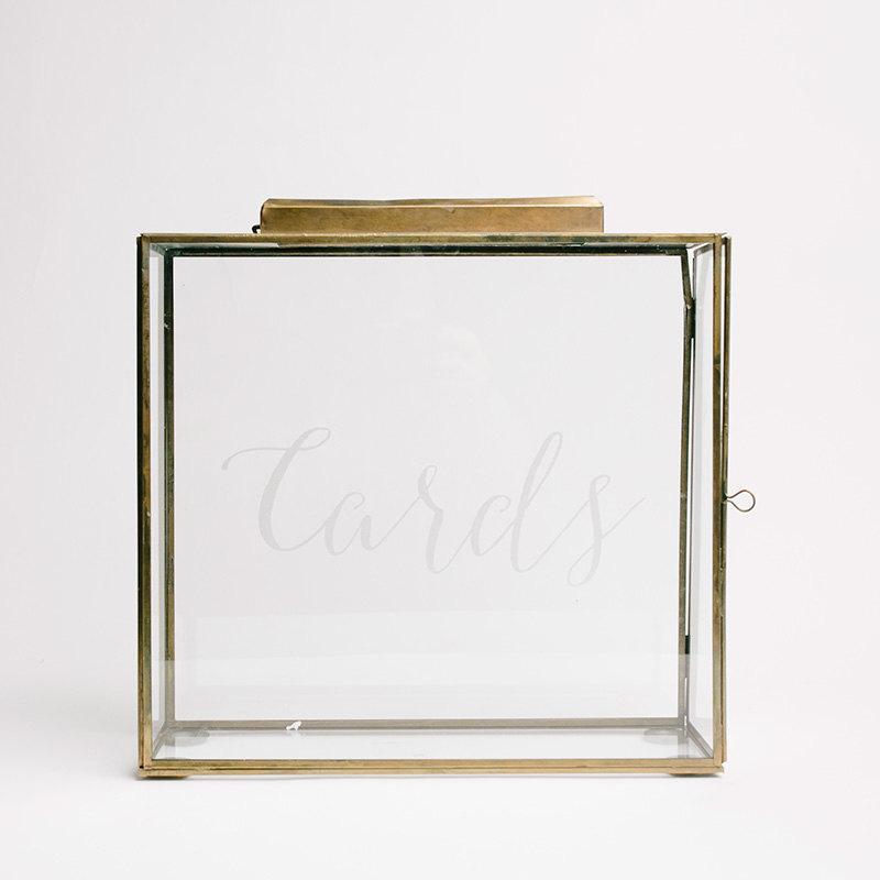 Mariage - Wedding Card Box (Gold), Wedding Keepsake Glass Box, Cards Box, Wedding Gift Box