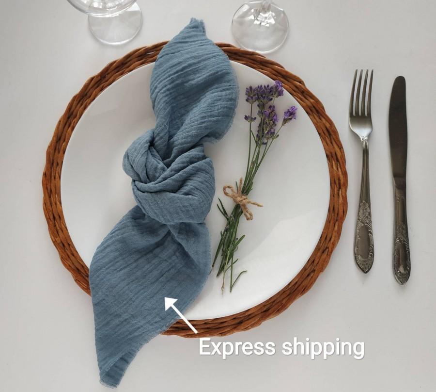 Mariage - Dusty Blue gauze napkins set 4 Cheesecloth napkin Rustic wedding decor Cotton gauze napkins Farm Table Decor cloth wedding napkins cotton