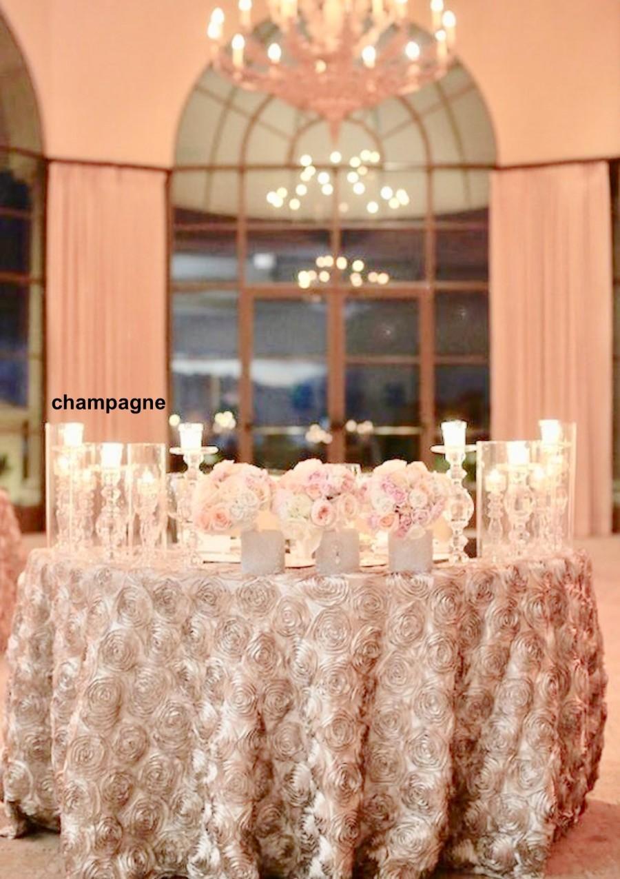 Hochzeit - Rosette table cloth, wedding, wedding decor, rosette tablecloth, table runner, table overlay, wedding tablecloth, table cloth, cake table