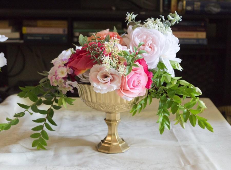 Mariage - Gold Glass Pedestal Vase - Gold Wedding Centerpiece - Gold Compote Vase - Wedding Flower Vase