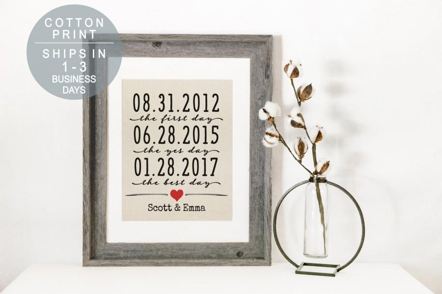 Wedding - 2 Year Anniversary Gift Important Dates Sign Wedding Gift 2nd Anniversary Gifts for Men Gift for Couple Cotton Anniversary Gift