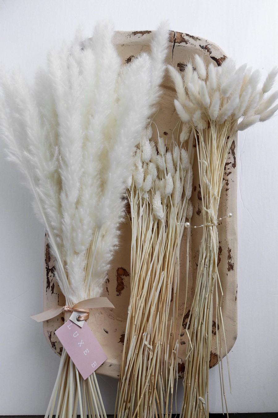 Wedding - Dried bleach White Flower Bunnytails Pampas Bundle Promo