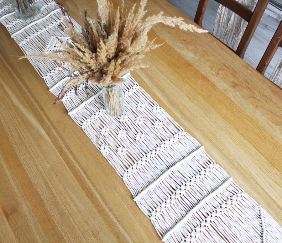 Mariage - Personalized Macrame Table Runner Rustic Wedding Decor Modern Bohemian Table Centerpiece Boho Table Cloth Christmas Table Decor Eco Friendly