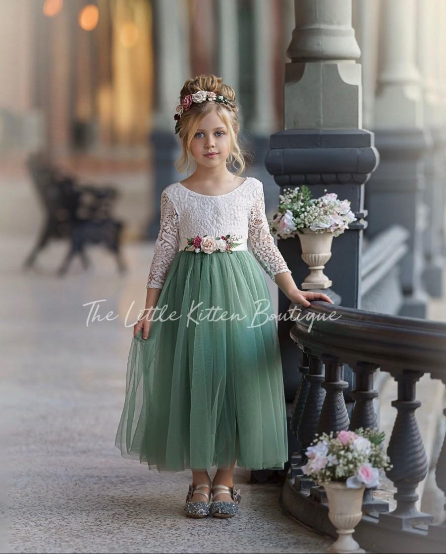Hochzeit - Sage Green tulle flower girl dress, lace flower girl dresses, long sleeve flower girl dress, boho flower girl dress, ivory flower girl dress