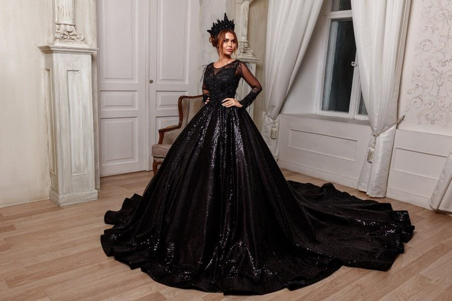 Mariage - Gothic black wedding dress ball gown, Long sleeves, Crystal sprarkly bridal dress,Ball gown black luxury dress,Royal dress with long train
