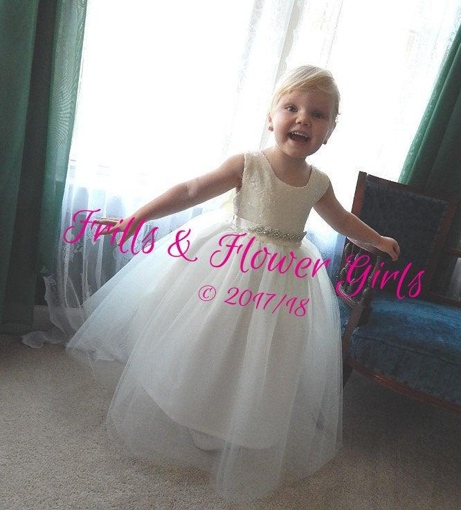 Mariage - Ivory SEQUIN Tulle Flower Girl Dress Rhinestone sash Girls Junior Bridesmaids - Infant 12Mo to Girls Size 10 - Other Sash colors Available