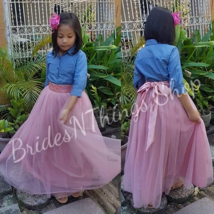 Wedding - Tulle Skirt 82 Colors Dusty pink tulle skirt,flower girl tulle skirt, dusty pink tulle skirt for flower girls, dusty pink tutu skirt
