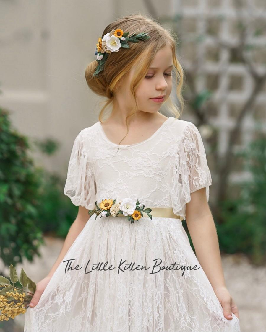 Mariage - tulle flower girl dress, rustic lace flower girl dresses, bohemian flower girl dress, boho flower girl dress, ivory flower girl dress, tulle